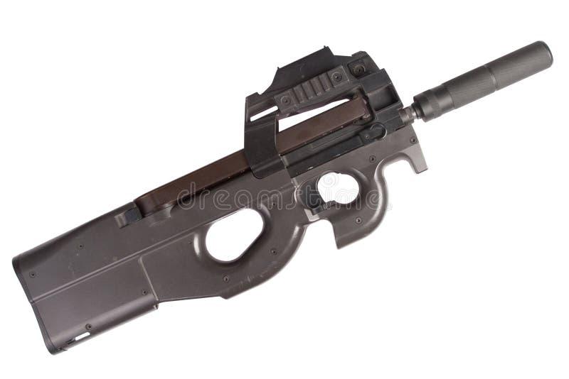 Submachine gun P90 - personal defense weapon. Isolated on white royalty free stock photos