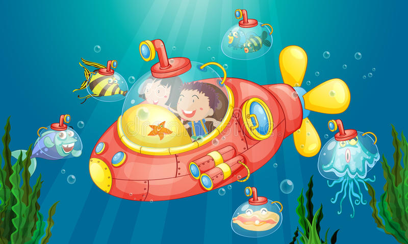 Submarine adventure vector illustration