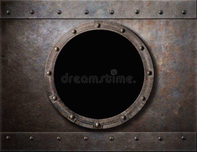 Submarine armoured porthole or window metal stock photo