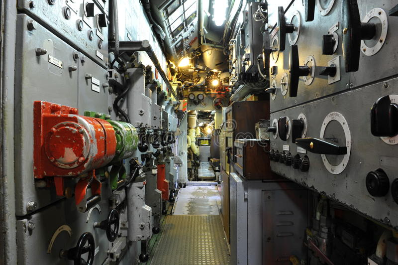 Submarine Boat U11, Control Room stock photo