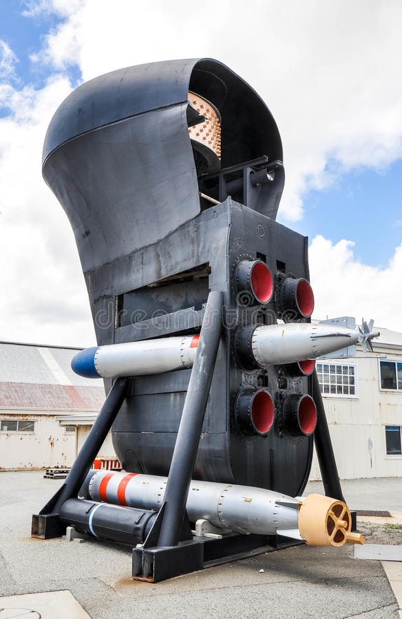 Submarine Bow: Torpedo Tubes and Sonar Dome. FREMANTLE,WA,AUSTRALIA-NOVEMBER 19,2015:Preserved Submarine bow with torpedoes, Maritime Museum outdoor display in royalty free stock photos