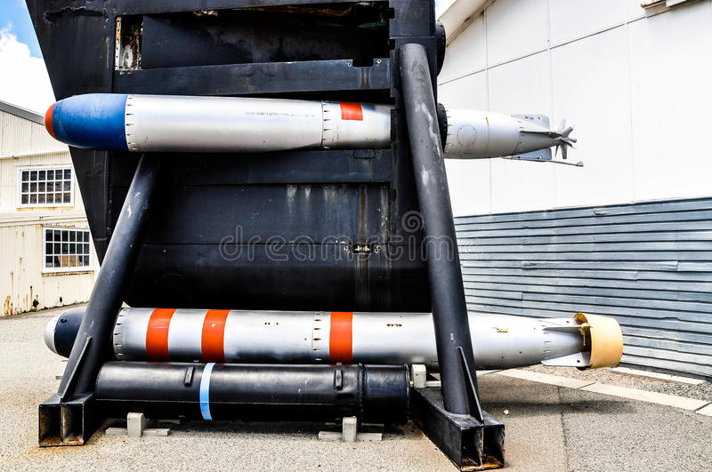 Submarine Bow: Torpedo Weapons. FREMANTLE,WA,AUSTRALIA-NOVEMBER 19,2015:Preserved Submarine bow with torpedoes, Maritime Museum outdoor display in Fremantle royalty free stock photography