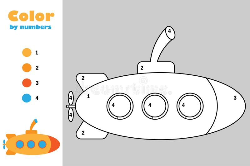 Submarine in cartoon style, color by number, education paper game for the development of children, coloring page, kids preschool vector illustration