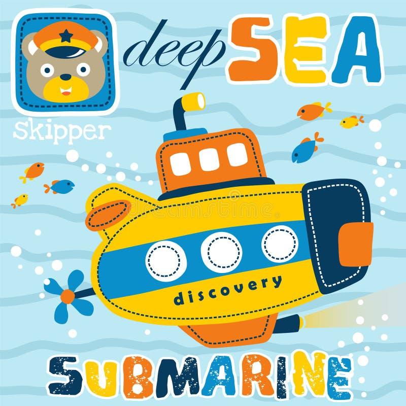 Submarine cartoon under blue sea vector illustration