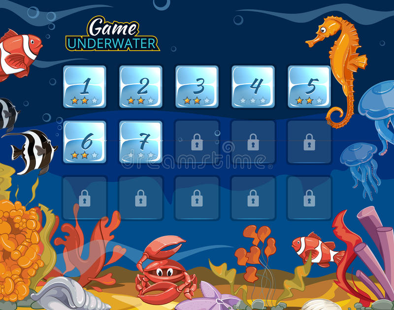 Submarine computer game with user interface. Sea and ocean interface, underwater interface, level interface aquarium bottom. Vector illustration royalty free illustration