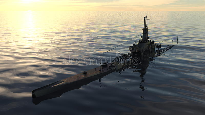 Submarine. 3D CG rendering of a submarine stock images