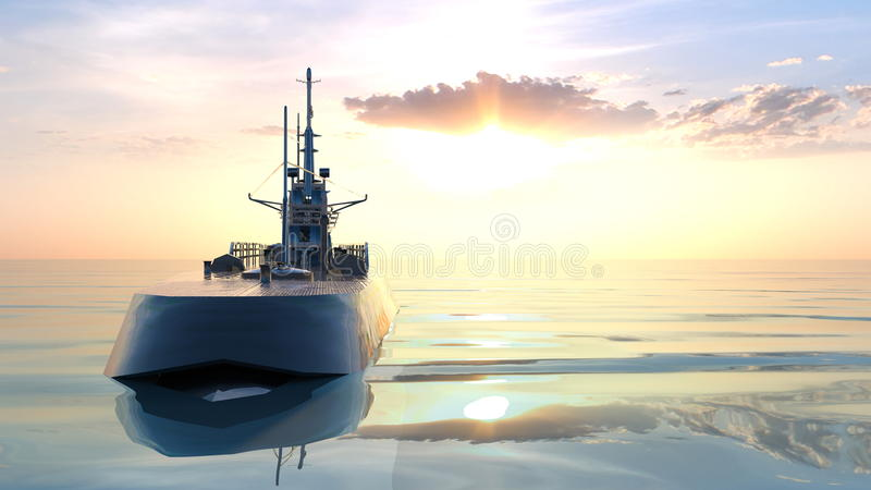 Submarine. 3D CG rendering of the submarine stock photography
