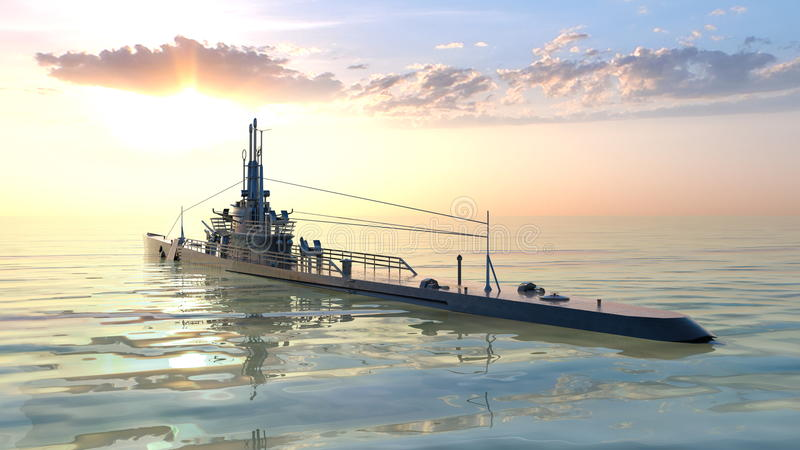 Submarine. 3D CG rendering of the submarine stock images