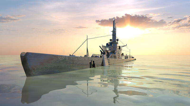 Submarine. 3D CG rendering of the submarine royalty free stock photo