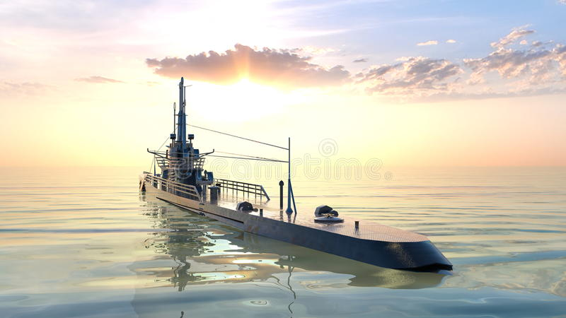 Submarine. 3D CG rendering of the submarine royalty free stock photography