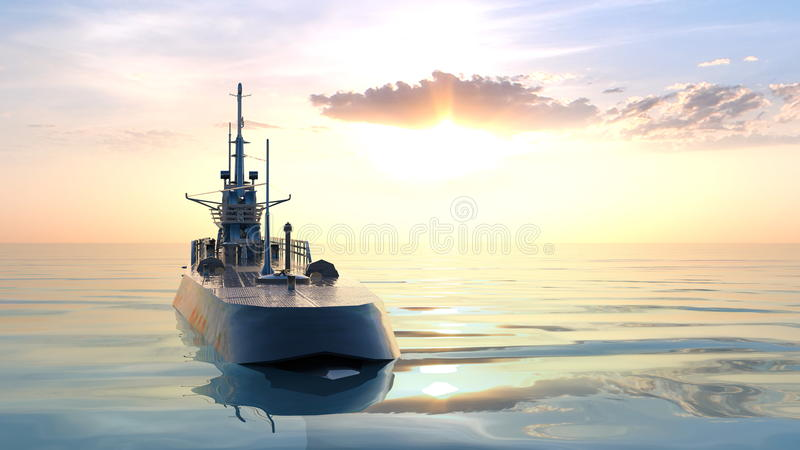 Submarine. 3D CG rendering of the submarine stock photos