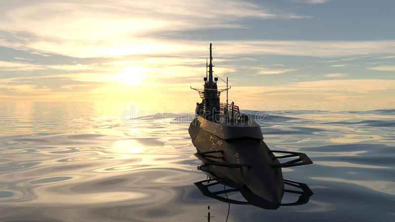 Submarine. 3D CG rendering of a submarine and sea royalty free stock photos