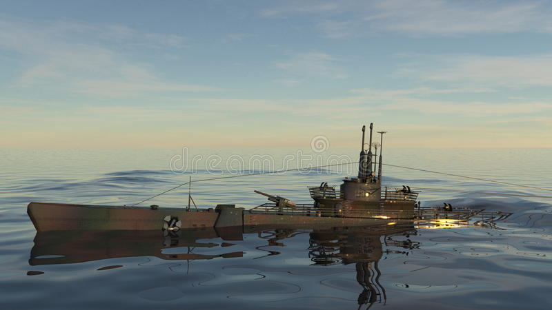 Submarine. 3D CG rendering of a submarine and sea stock image