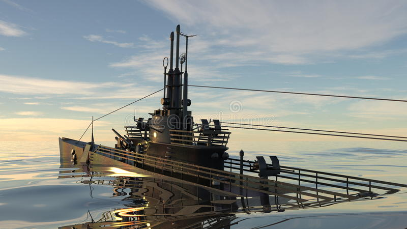 Submarine. 3D CG rendering of a submarine and sea stock photography