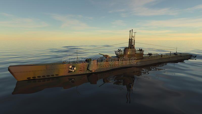 Submarine. 3D CG rendering of a submarine and sea stock images
