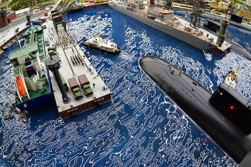 Submarine in dock at the naval base stock photos