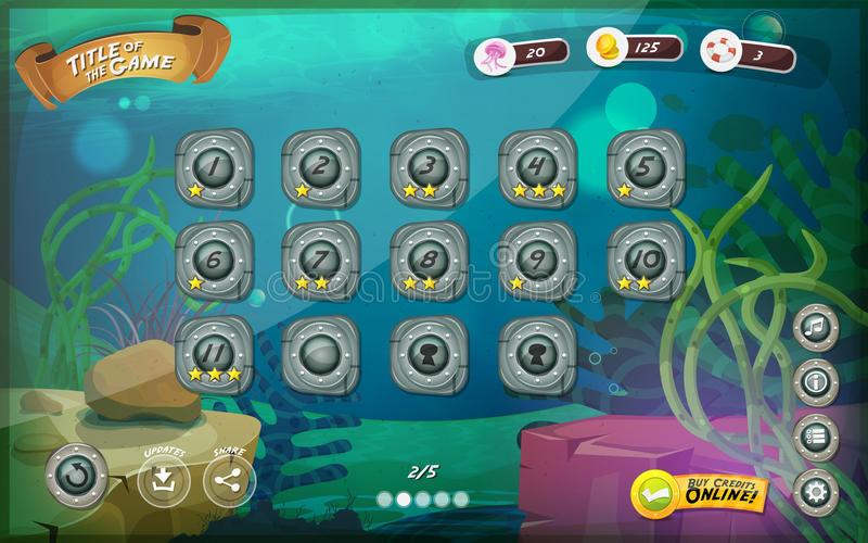 Submarine Game User Interface For Tablet. Illustration of a funny submarine sea graphic game user interface background, in cartoon style with basic buttons and vector illustration