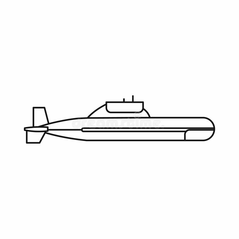 Submarine icon in outline style. On a white background stock photography
