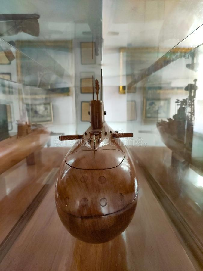 Submarine made by wood,ludhiana,india on 16 August 2019:Maharaja Ranjit Singh War Museum established 1999. stock images