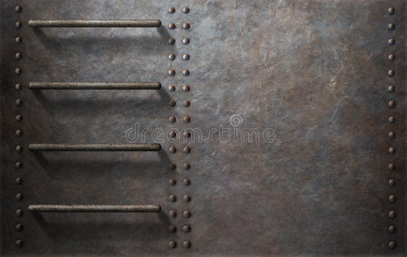 Submarine metal side background with stairs stock photography