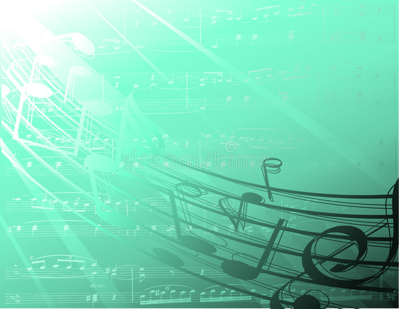 Submarine music notes. Underwater view of some decorative musical notes stock illustration