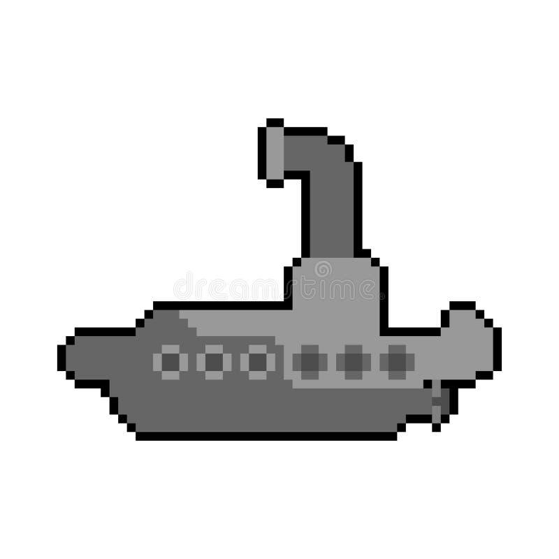 Submarine pixel art. Ship for underwater diving 8 bit. Vector illustration.  stock illustration