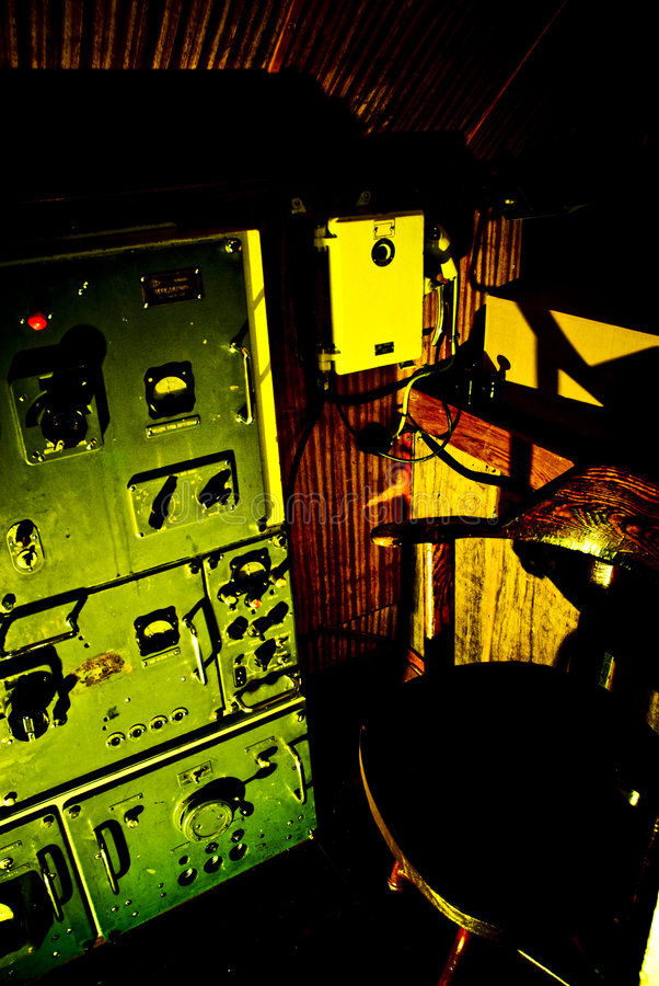 Submarine Radio Room. A WWII submarine radio room in high contrast using special filters stock photos
