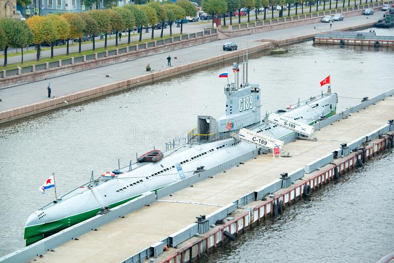 Military Submarine in Port of St. Petersburg, Russia royalty free stock photography