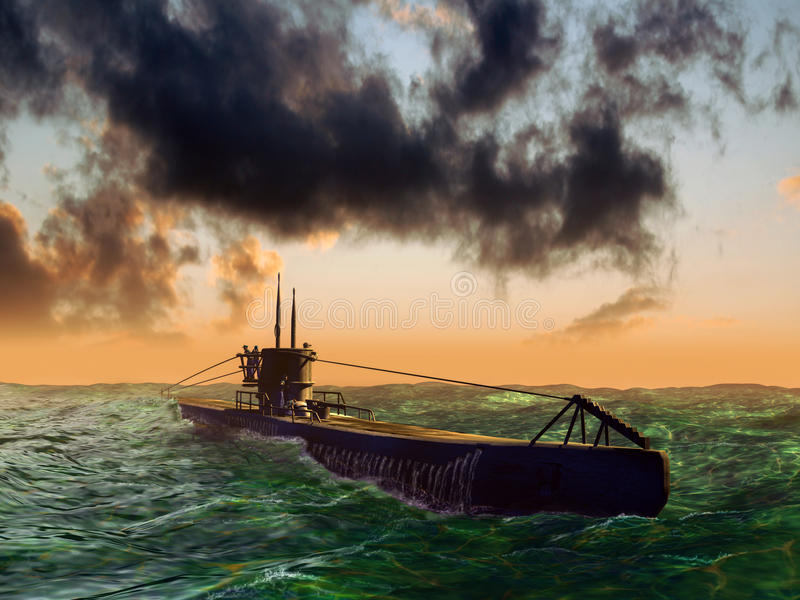 Submarine on sea surface. A world war two submarine on the sea surface in the sunset stock illustration