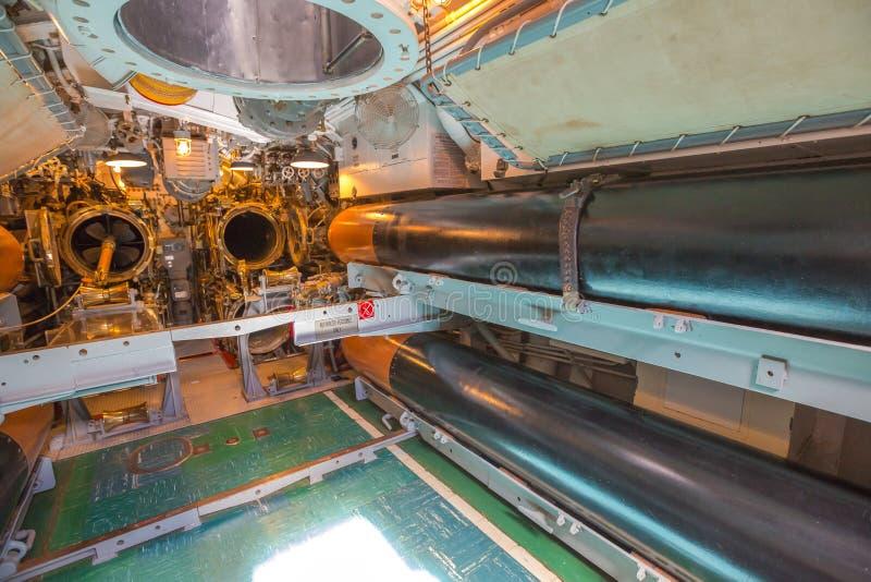 Submarine torpedo room. HONOLULU, OAHU, HAWAII, USA - AUGUST 21, 2016: war room with torpedoes of USS Bowfin Submarine SS-287 at Pearl Harbor. Historic Landmark stock photography