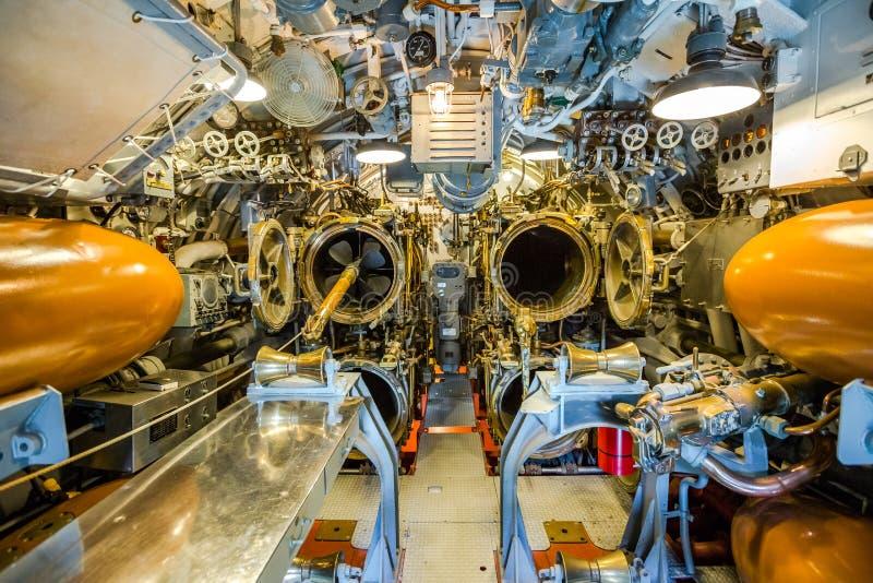 Submarine torpedo war room. HONOLULU, OAHU, HAWAII, USA - AUGUST 21, 2016: war room with torpedoes of USS Bowfin Submarine SS-287 at Pearl Harbor. Historic stock photo