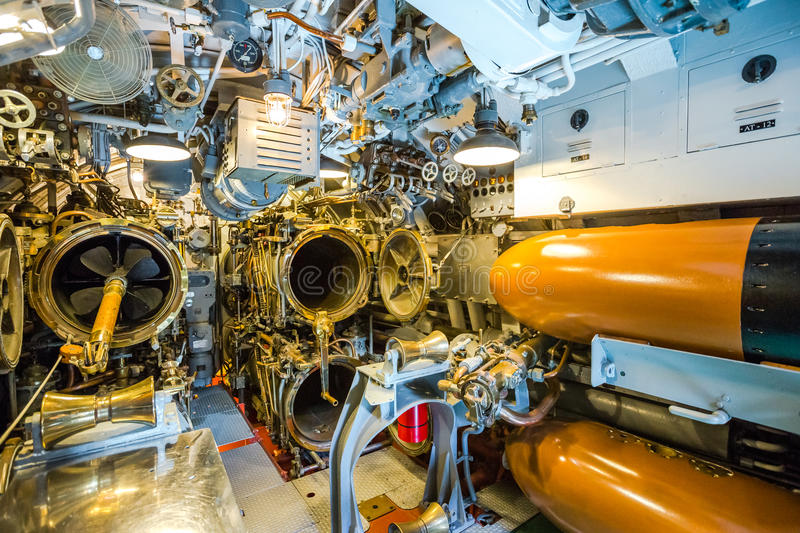Submarine torpedoes room. HONOLULU, OAHU, HAWAII, USA - AUGUST 21, 2016: front torpedoes of USS Bowfin Submarine SS-287 at Pearl Harbor. Pearl Harbor is a royalty free stock photo