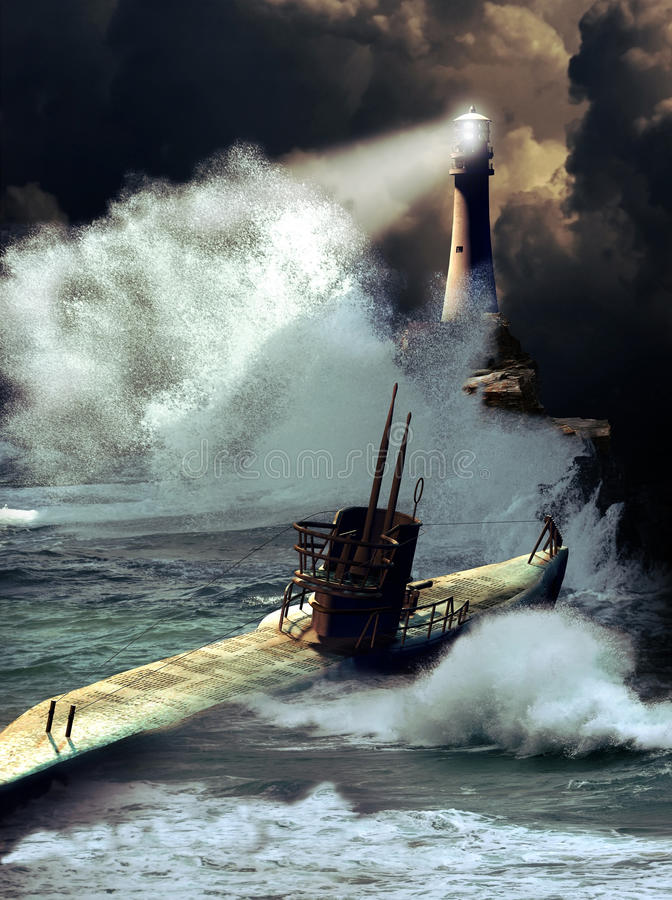 Submarine under storm. A world war two submarine on the sea surface under a storm, and approaching the coast, close to a lighthouse royalty free illustration