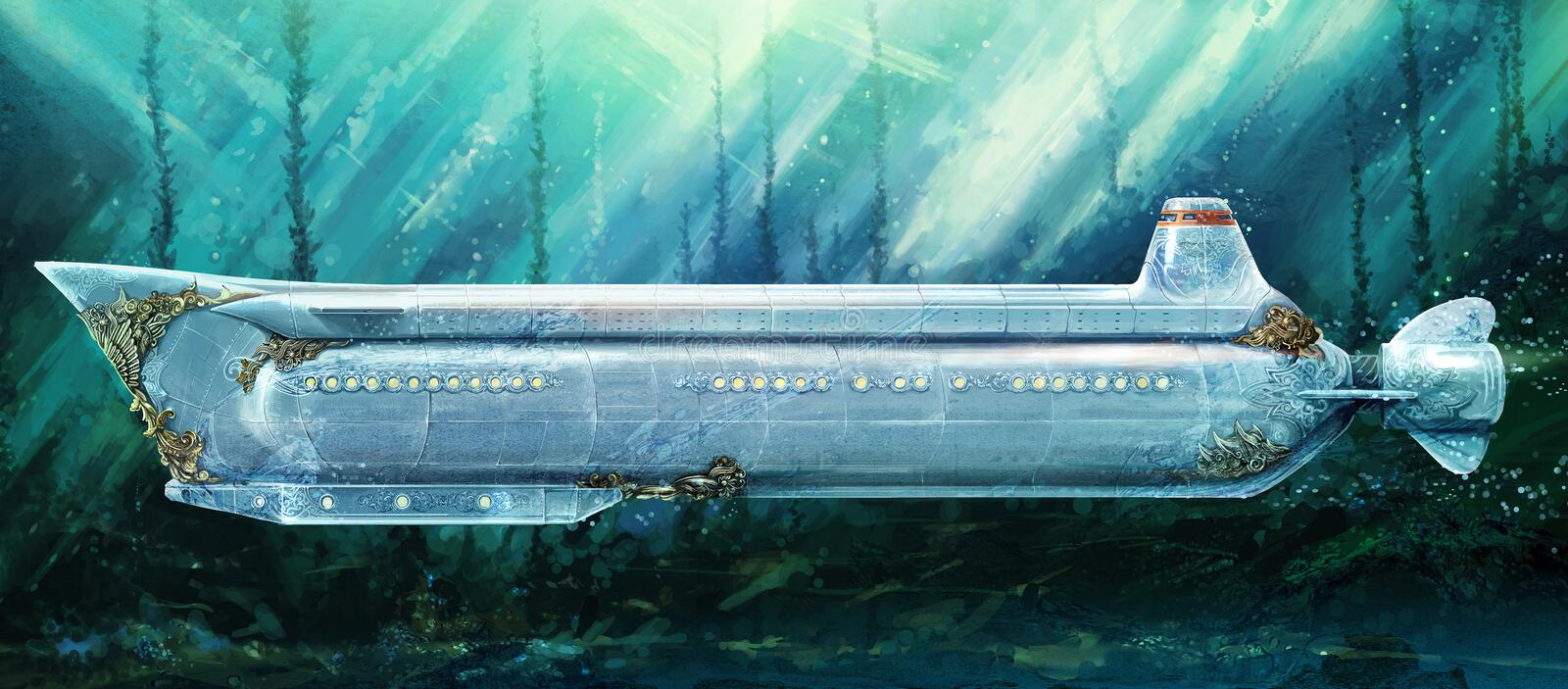 Submarine under water royalty free illustration