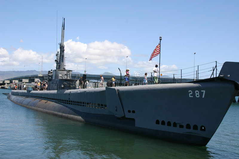 Submarine USS Bowfin. USS Bowfin (SS287) in dock at Pearl Harbor, Oahu, Hawaii royalty free stock image