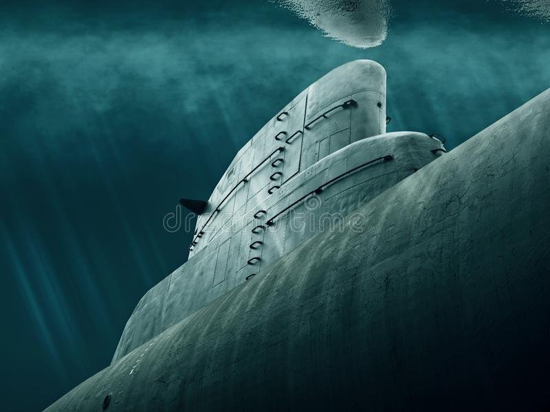 Submarine is waiting under water stock images
