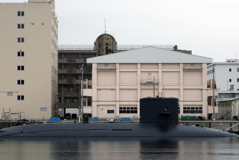 Submarine, Yokosuka, Japan. Oyashio-class submarine of the Japanese Navy in the Yokosuka harbour stock photography