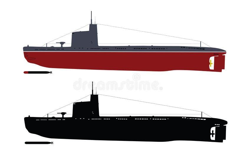 Submarino ilustración del vector