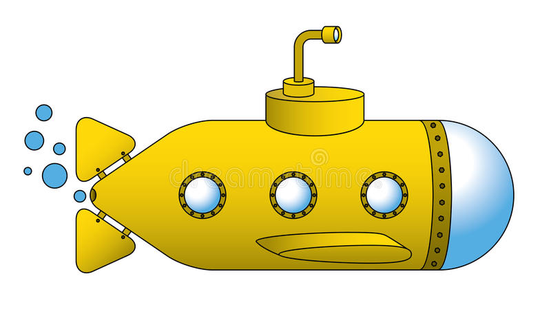 Submarino amarelo ilustração do vetor