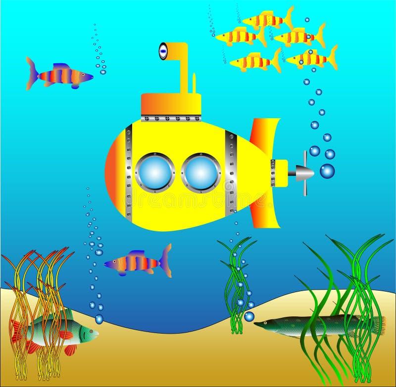 Submarino amarelo sob a água ilustração royalty free