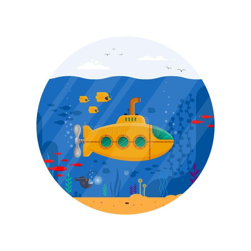 Submarino amarillo con concepto subacuático del periscopio en círculo Vida marina con los pescados, coral, alga marina, océano az ilustración del vector