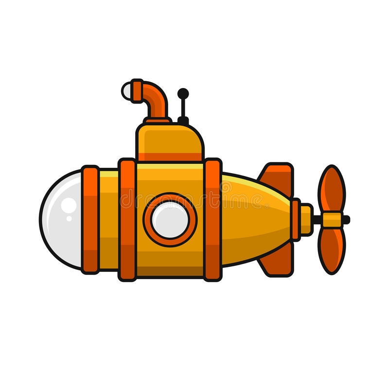 Submarino amarillo con el icono del periscopio, diseño plano del estilo Vector stock de ilustración