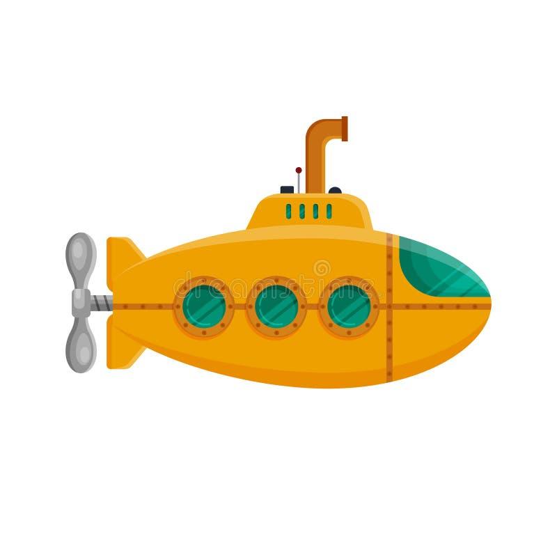 Submarino amarillo con el periscopio aislado en el fondo blanco Submarino subacuático colorido en estilo plano Juguete infantil - stock de ilustración