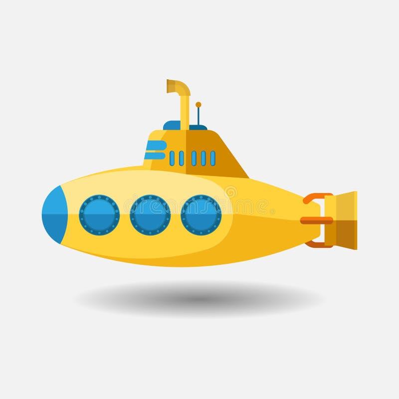 Submarino amarillo con el periscopio, diseño plano libre illustration