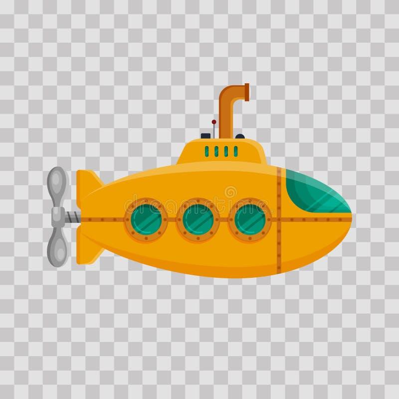 Submarino amarillo con el periscopio en fondo transparente Submarino subacuático colorido en estilo plano Juguete infantil - acci ilustración del vector