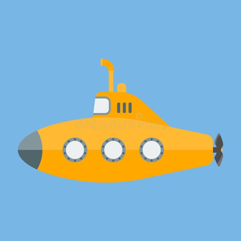 Submarino amarillo del vector con el periscopio libre illustration