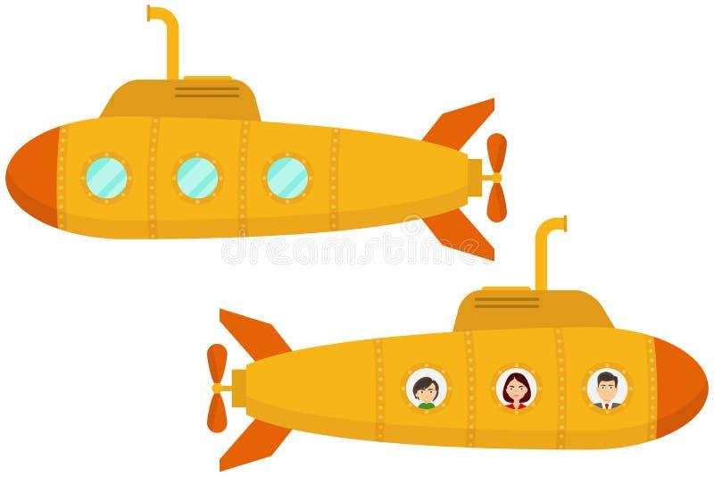 Submarino amarillo Dos submarinos amarillos de la historieta ilustración del vector