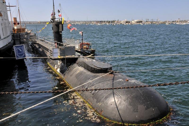 Submarino americano en el museo marítimo en San Diego imagenes de archivo