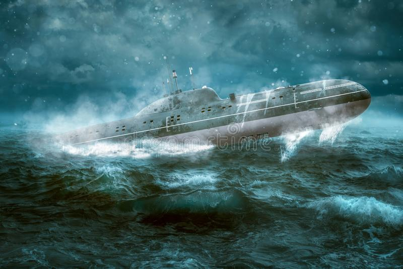 Submarino at?mico ruso imagenes de archivo
