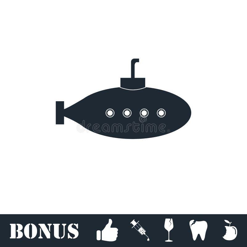 Submarino con el plano del icono del periscopio libre illustration